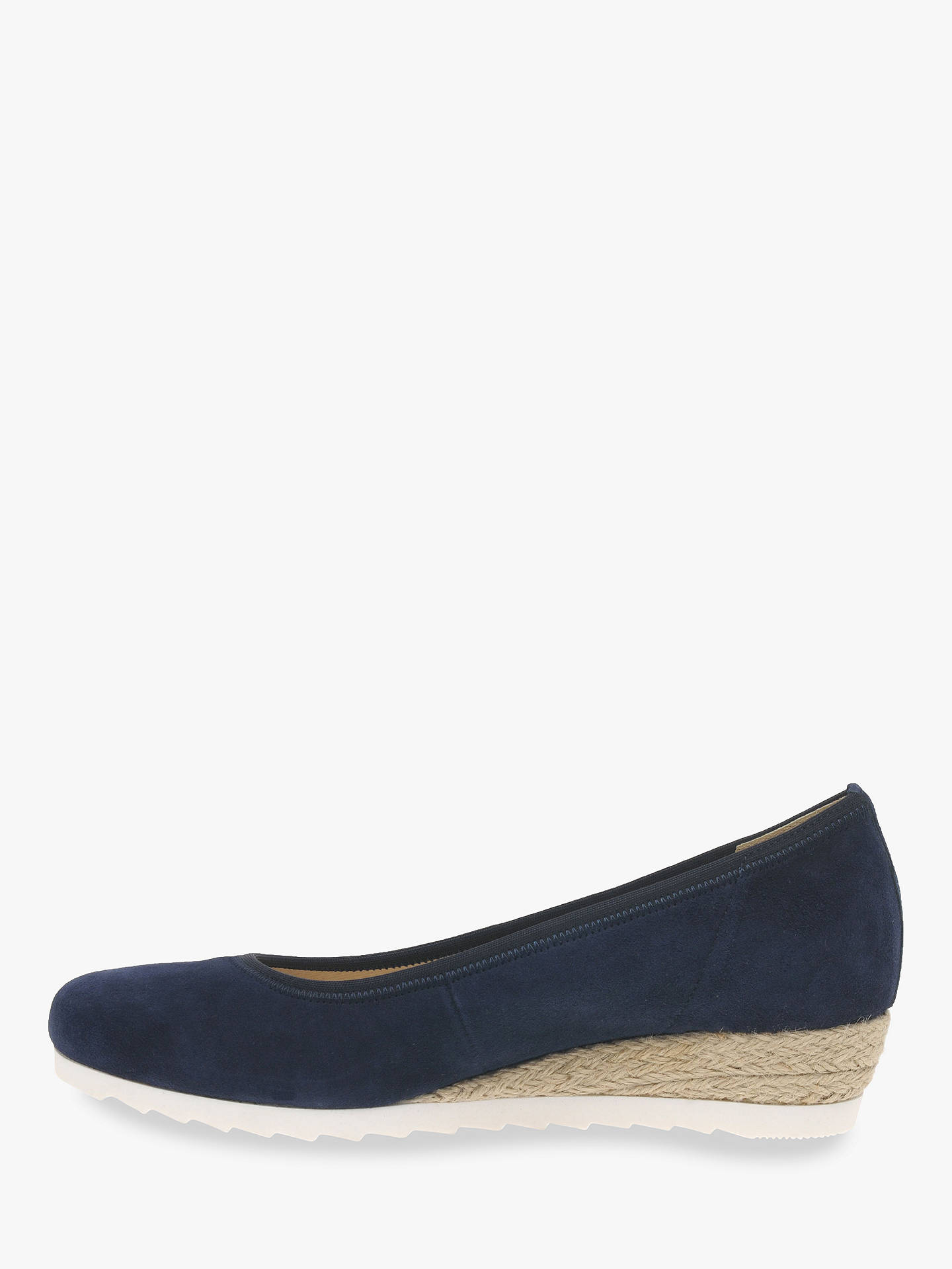 d8919e664ff0e ... Buy Gabor Epworth Wide Fit Espadrille Wedge Pumps, Navy Suede, 4 Online  at johnlewis ...