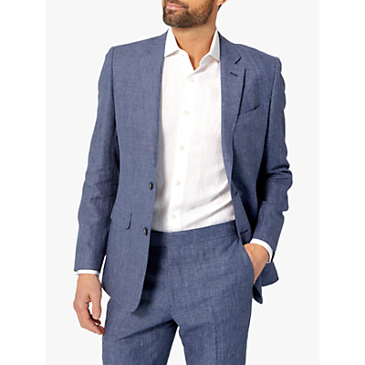 Richard James Mayfair Linen Slim Fit Suit Jacket, Navy