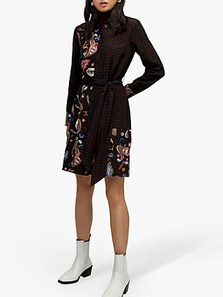 Warehouse Cutabout Paisley Shirt Dress, Black/Multi