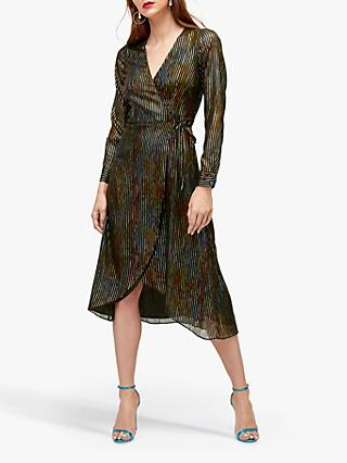 Warehouse Rainbow Foil Wrap Dress, Multi