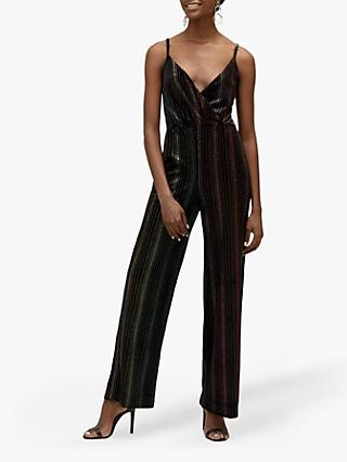 Warehouse Glitter Ombre Rainbow Jumpsuit, Black Stripe