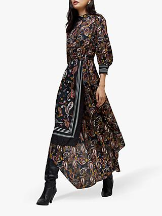 Warehouse Asymmetric Paisley Maxi Dress, Black