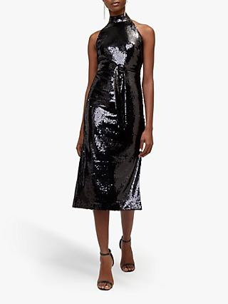 Warehouse Sequin Halter Dress, Black