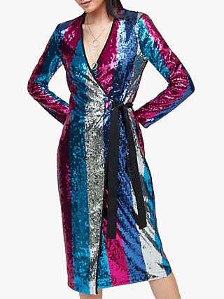 Warehouse Sequin Stripe Dress, Multi