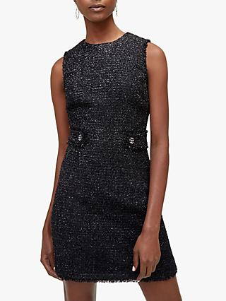 Warehouse Sparkle Tweed Pinafore Dress, Black