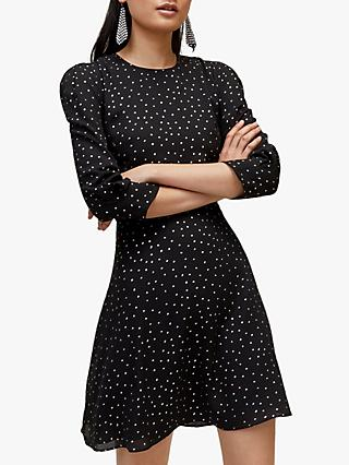 Warehouse Iridescent Spot Dress, Black