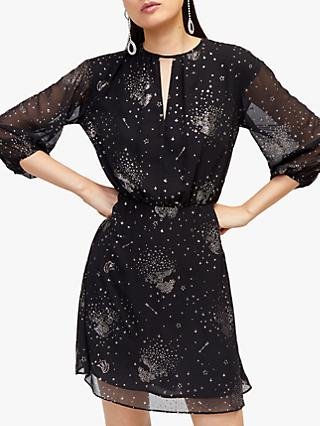 Warehouse Sparkle Star Tie Back Dress, Black
