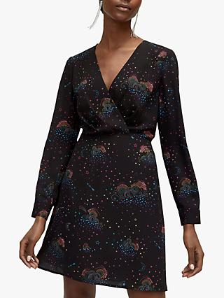 Warehouse Cloud Nine Printed Tea Dress, Black