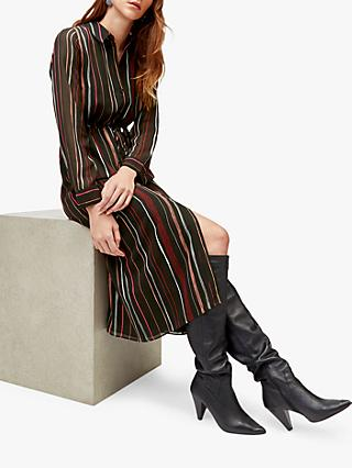 Warehouse Drawn Stripe Shirt Dress, Black Stripe