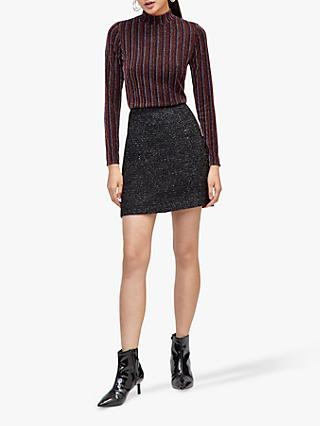 Warehouse Sparkle Tweed Skirt, Black