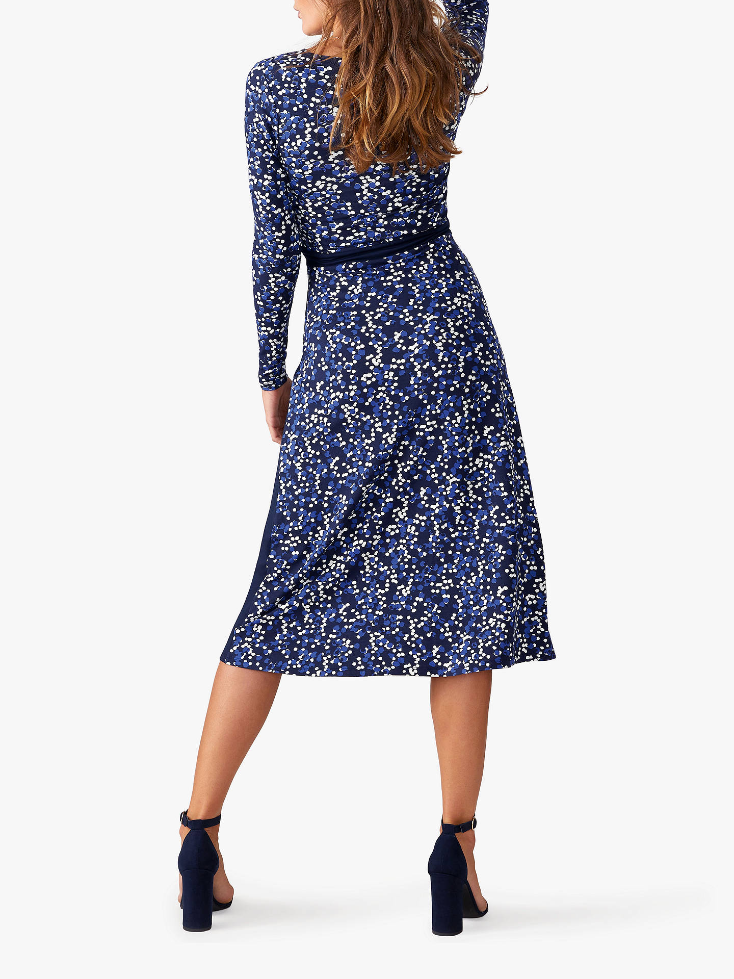 Buy Pure Collection Jersey Wrap Dress, Navy Spot, 16 Online at johnlewis.com
