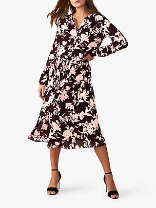 Pure Collection Floral Drawstring Dress, Aubergine