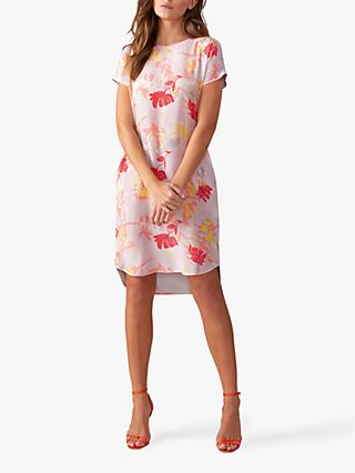 Pure Collection Silk Printed Floral Dress, Silver Print