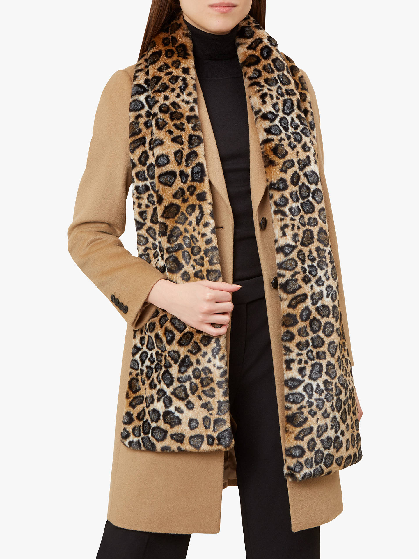 Buy Hobbs Gabriella Faux Fur Animal Print Scarf, Leopard Online at johnlewis.com