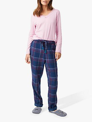 White Stuff Sparkle Check Pyjama Bottoms, Noel Navy