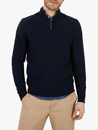 Jaeger Milano Zip Through Jumper, Navy