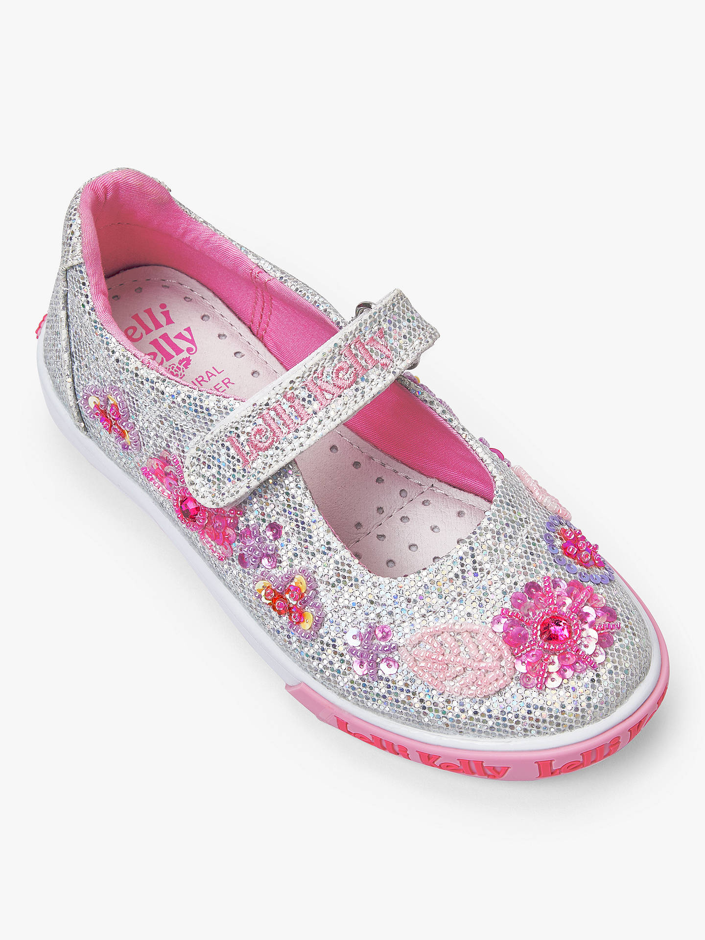 0d153aa7cada Buy Lelli Kelly Children's Glitter Daisy Dolly Shoes, Silver, 28 Online at  johnlewis.