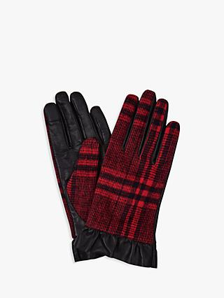 Hobbs Mia Check Leather Gloves, Black Red