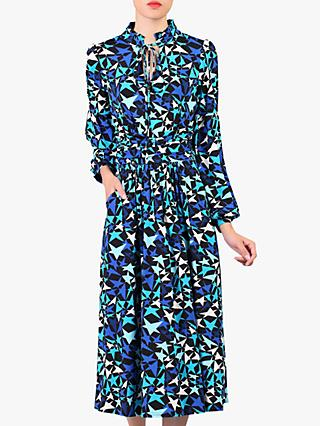 Jolie Moi Star Print Tie Collar Midi Dress, Navy