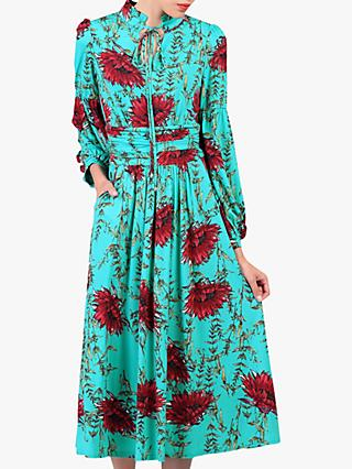 Jolie Moi Floral Print Tie Collar Midi Dress, Teal
