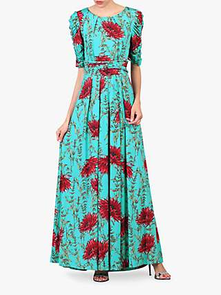 Jolie Moi Floral Print Ruched Sleeve Maxi Dress, Green