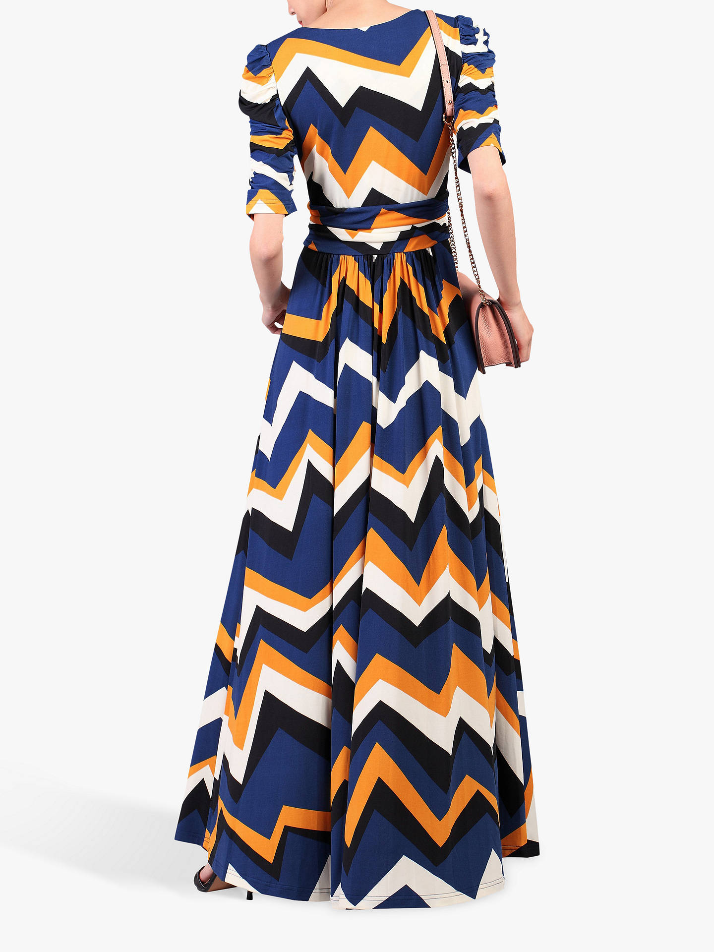 BuyJolie Moi Geometric Print Ruched Sleeve Maxi Dress, Blue Wave, 8 Online at johnlewis.com