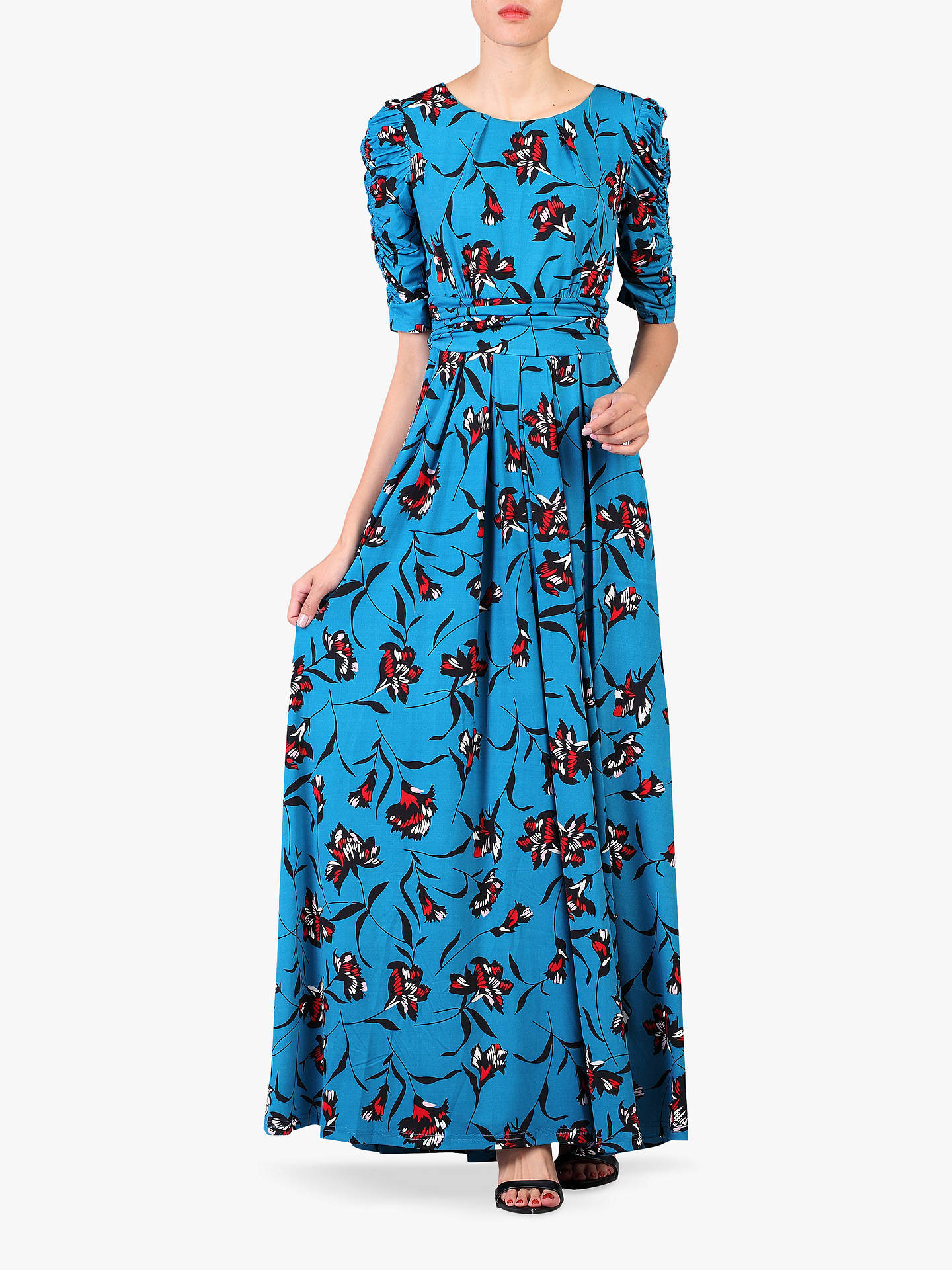f6a7ddd042 Buy Jolie Moi Floral Print Ruched Sleeve Maxi Dress, Blue, 12 Online at  johnlewis ...