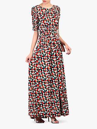 Jolie Moi Geometric Diamond Print Ruched Sleeve Maxi Dress, Green/Multi