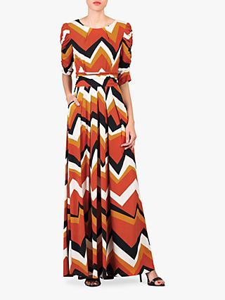 Jolie Moi Geometric Print Ruched Sleeve Maxi Dress, Red Wave