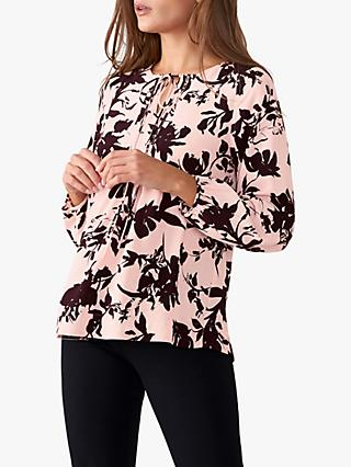 Pure Collection Tie Neck Blouse, Pink/Aubergine Frill
