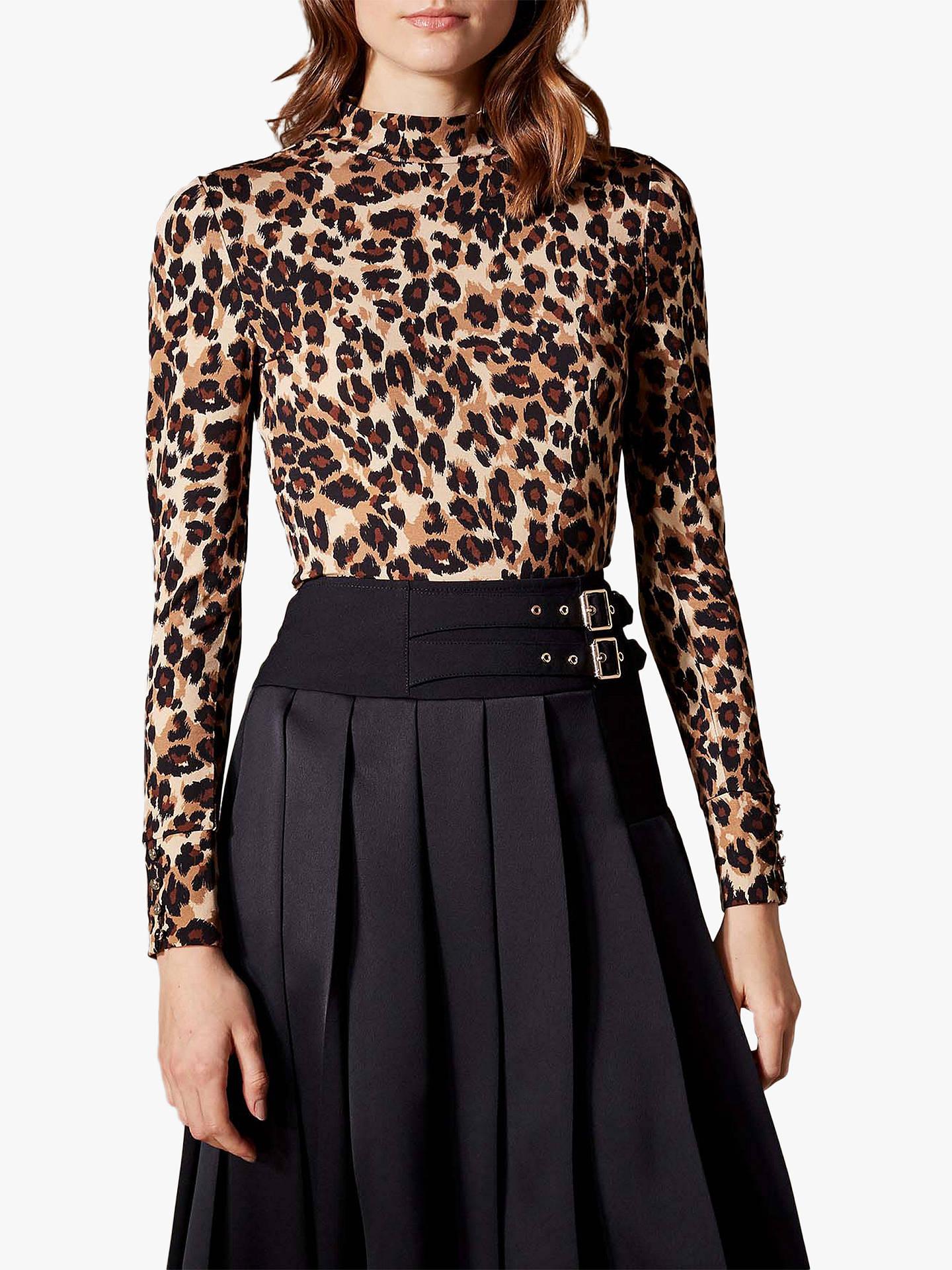 ff76dea8943 Buy Karen Millen Leopard Print Top, Brown, 6 Online at johnlewis.com ...