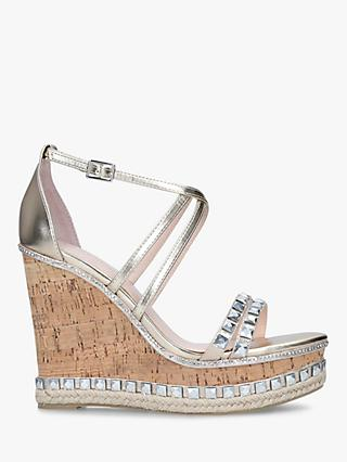 Carvela Grab Embellished High Heel Wedge Sandals, Gold
