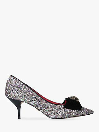 Kurt Geiger London Portobello Kitten Heel Court Shoes, Glitter Multi