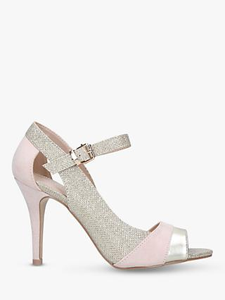 Carvela Loulou Cut Out Stiletto Heel Sandals, Nude Suede/Glitter