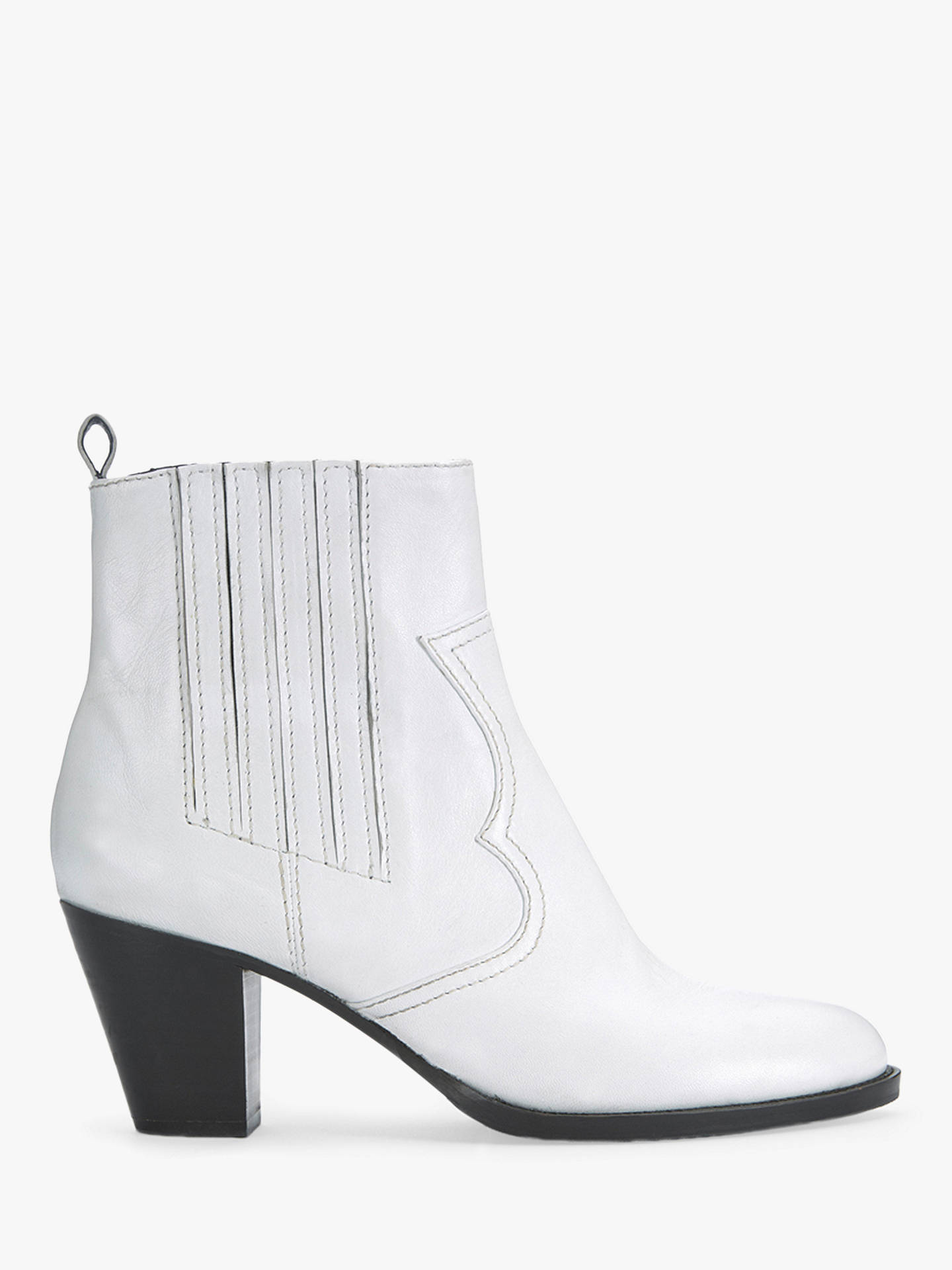 768372537e7 Mint Velvet Sophie Leather Cowboy Ankle Boots, White at John Lewis ...