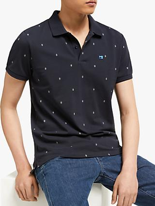 Scotch & Soda Allover Print Pique Polo Shirt, Navy