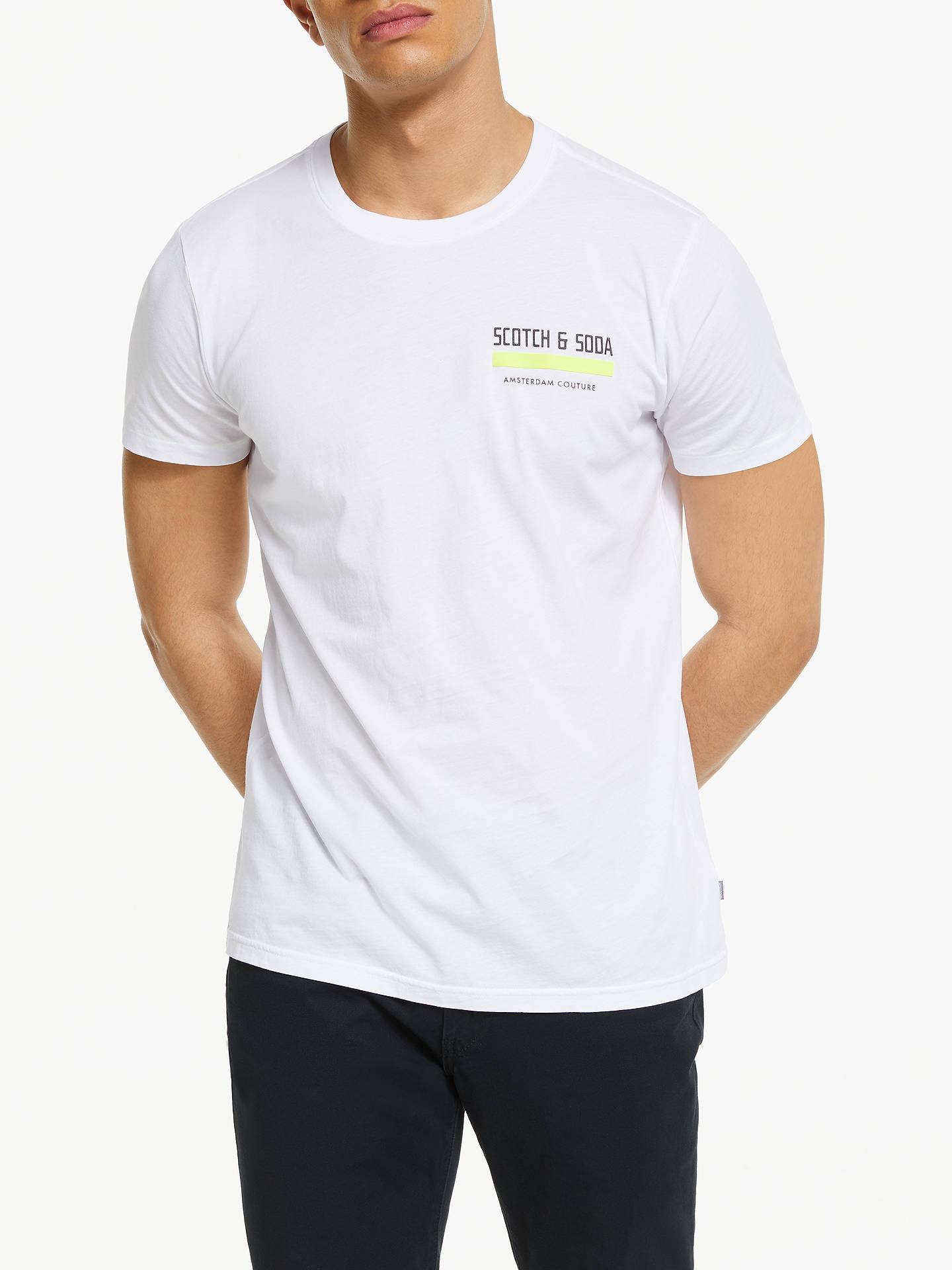 7dcc1e57a9e00a Scotch & Soda Crew Neck Logo T-Shirt, White at John Lewis & Partners