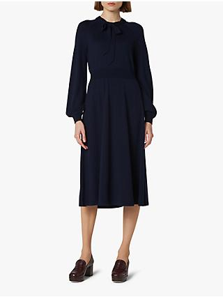 L.K.Bennett Carroll Tie Neck Midi Wool Dress
