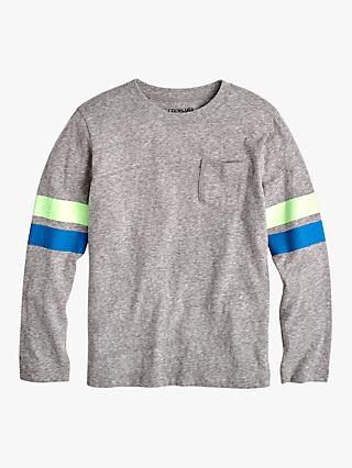 crewcuts by J.Crew Boys' Striped Sleeves Pocket T-shirt, Slate/Multi