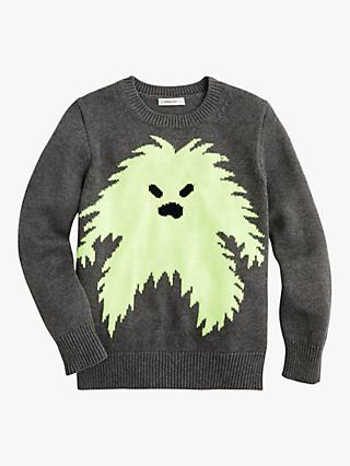 crewcuts by J.Crew Boys' Snow Monster Jumper, Grey/Neon Green