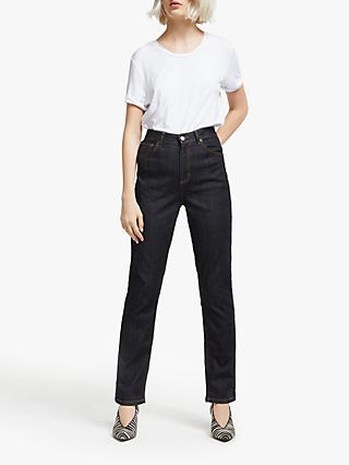 AND/OR High Rise Straight Leg Jeans, Blue Rinse Wash