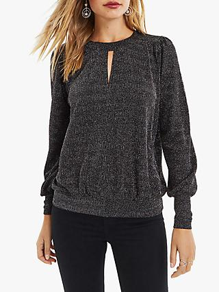 Oasis Metallic Keyhole Top, Black