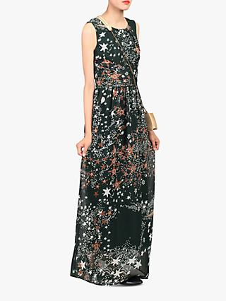 Jolie Moi Star Print Belted Maxi Dress, Dark  Green