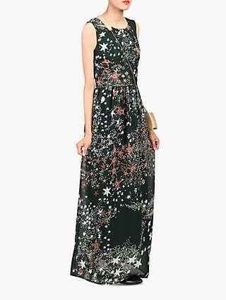 Jolie Moi Star Print Belted Maxi Dress, Dark Green