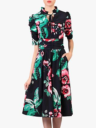 Jolie Moi Floral Print Tie Collar Dress, Navy