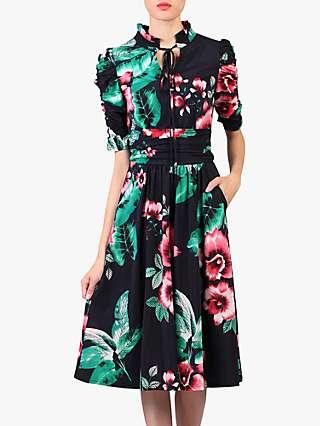 Jolie Moi Floral Print Tie Collar Dress, Navy