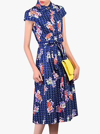 Jolie Moi Floral Spot Print Shirt Dress, Navy