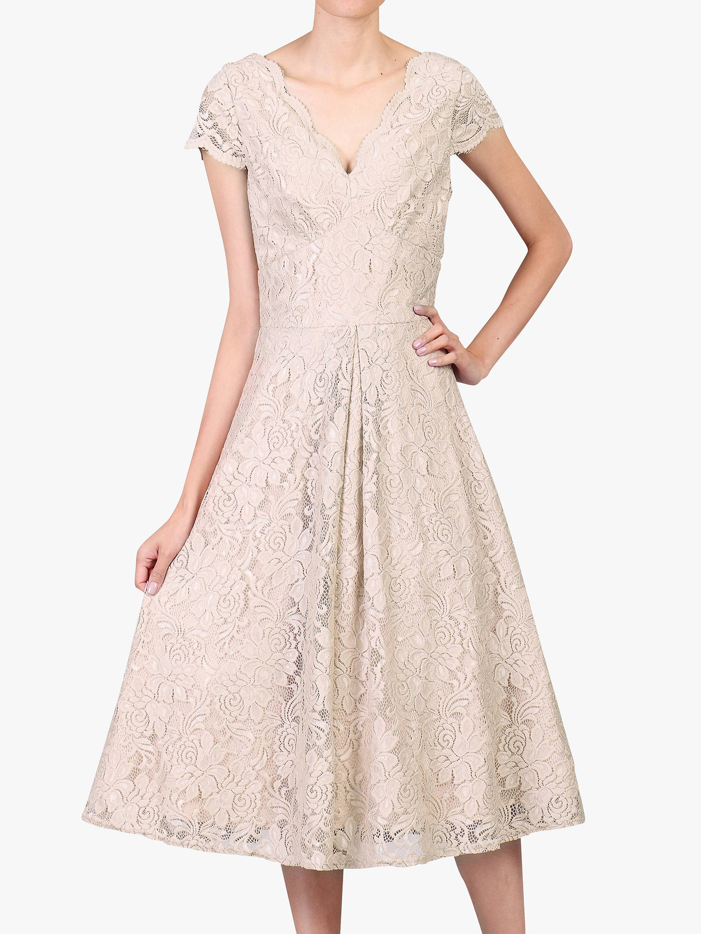 Buy Jolie Moi Cap Sleeve Lace Prom Dress, Oyester, 16 Online at johnlewis.com