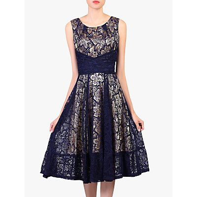 Image of Jolie Moi Contrast Lace Dress, Navy