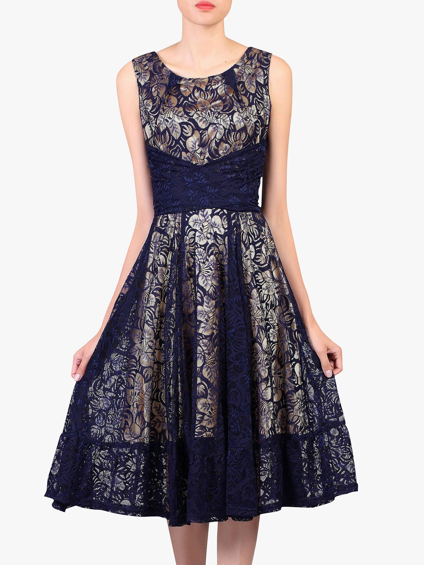 4ff1f3ba Buy Jolie Moi Contrast Lace Dress, Navy, 8 Online at johnlewis.com ...